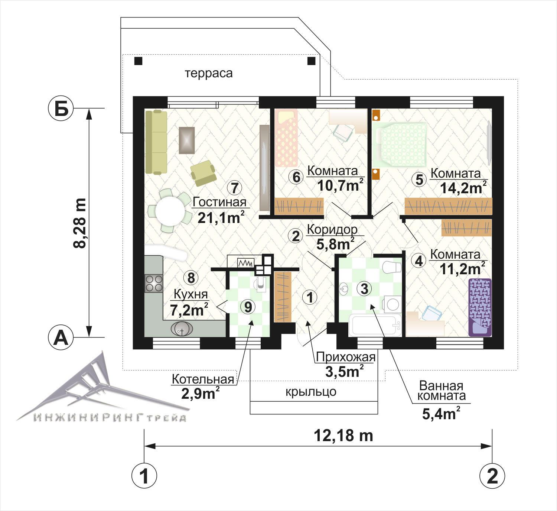 нарядно план одноэтажного дома с тремя спальнями фото перри
