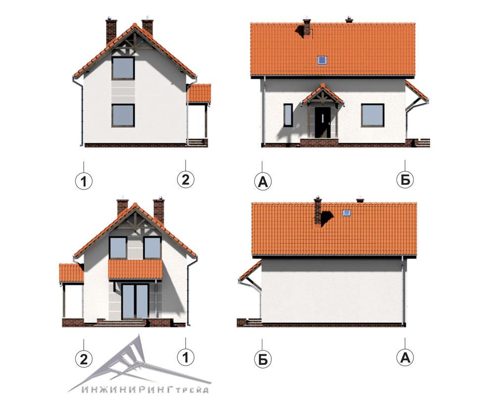Мансардный дом M014 -88 м²