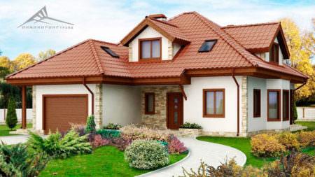 Мансардный дом M004 -242 м²