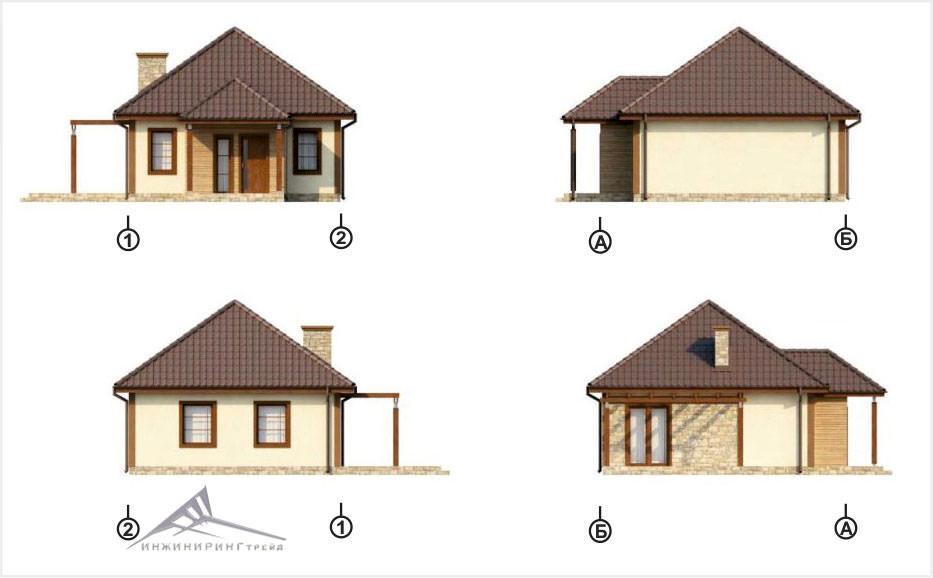 Одноэтажный дом B007 -52 м²