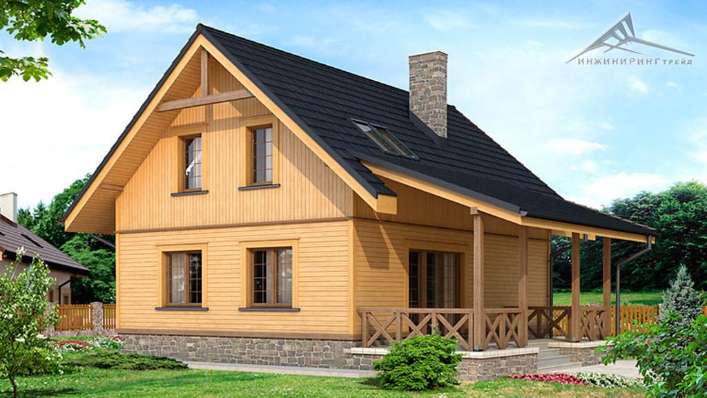 Мансардный дом M015 -118 м²