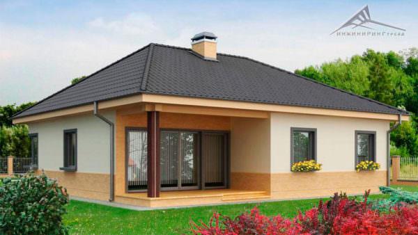 Одноэтажный дом B008 -120 м²