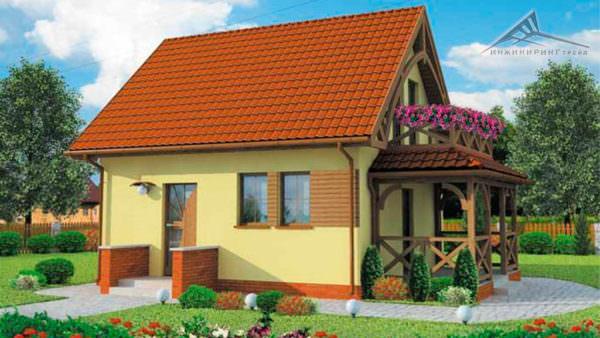 Мансардный дом M007 -70 м²